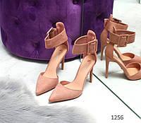 Замшевые Туфли на шпильке, цвет пудра  39,40 Код:973683294