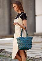 Сумка шоппер женская натуральная кожа Krast, пазл малахит, фото 1