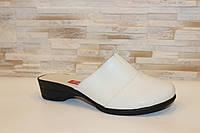 Шлепанцы сабо женские бежевые натуральная кожа на небольшом каблуке Б250 Код:993866286