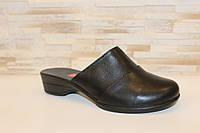 Шлепанцы сабо женские черные натуральная кожа на небольшом каблуке Б251 Код:993870410