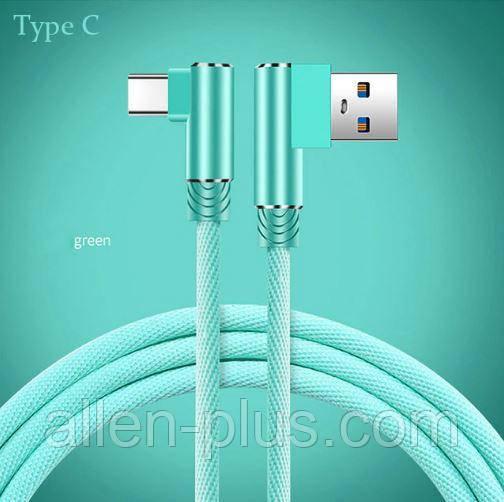 Кабель для  зарядки и передачи данных смартфона Suntaiho, Type C, USB 3.0, угловой, бирюзовый