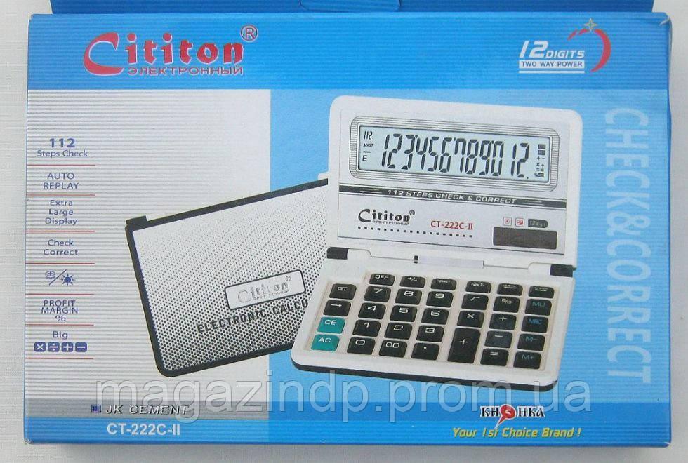 Калькулятор кнный 12-разр CT-222С-II с крышкой Код:475253103