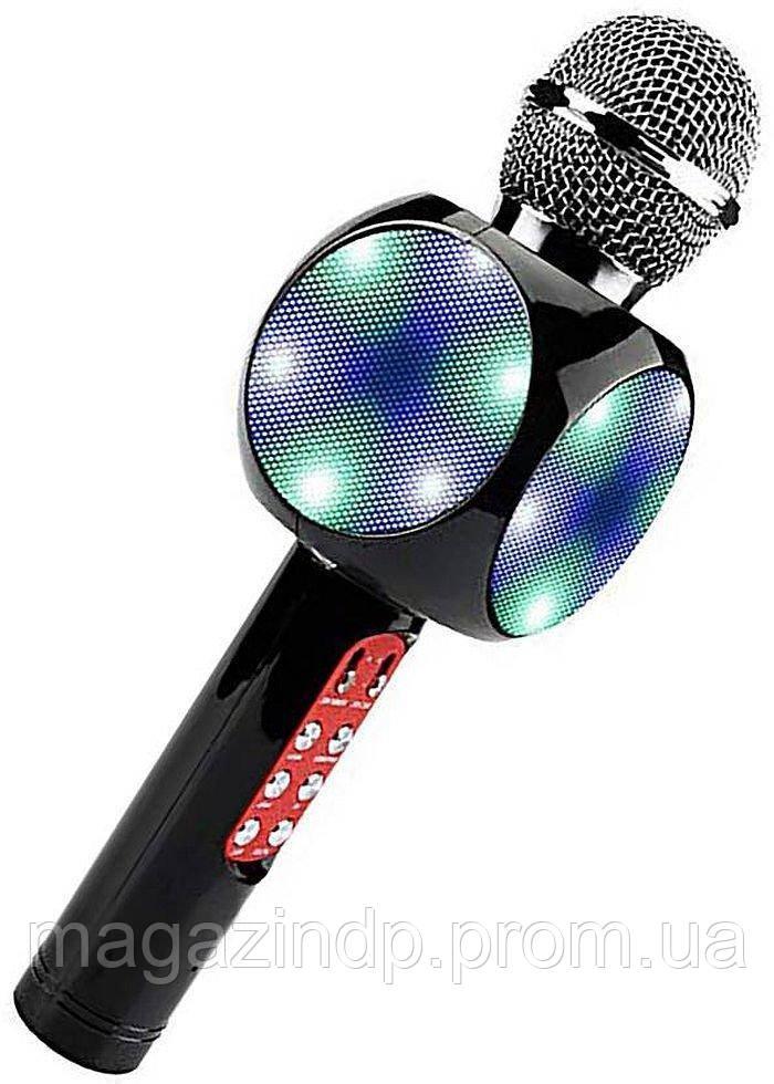 Беспроводной микрофон караоке с динамиком и цветомузыкой Wster Ws-1816, black Код:857358866