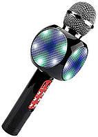 Беспроводной микрофон караоке с динамиком и цветомузыкой Wster Ws-1816, black Код:857358866, фото 1