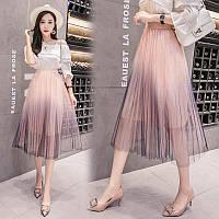 Женская длинная плиссированная юбка из фатина на подкладке розовая, фото 1