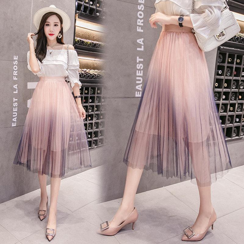 Женская длинная плиссированная юбка из фатина на подкладке розовая