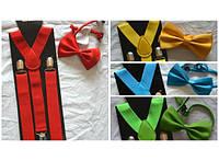 Набор подтяжки детские широкие и галстук-бабочка Код:227-18915314