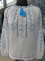 "Нежная женская вышитая рубашка ""Сніжинка"". Мережка разных техник., фото 1"