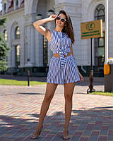 Костюм женский из коттона с шортами и топом в полоску (К28170), фото 1