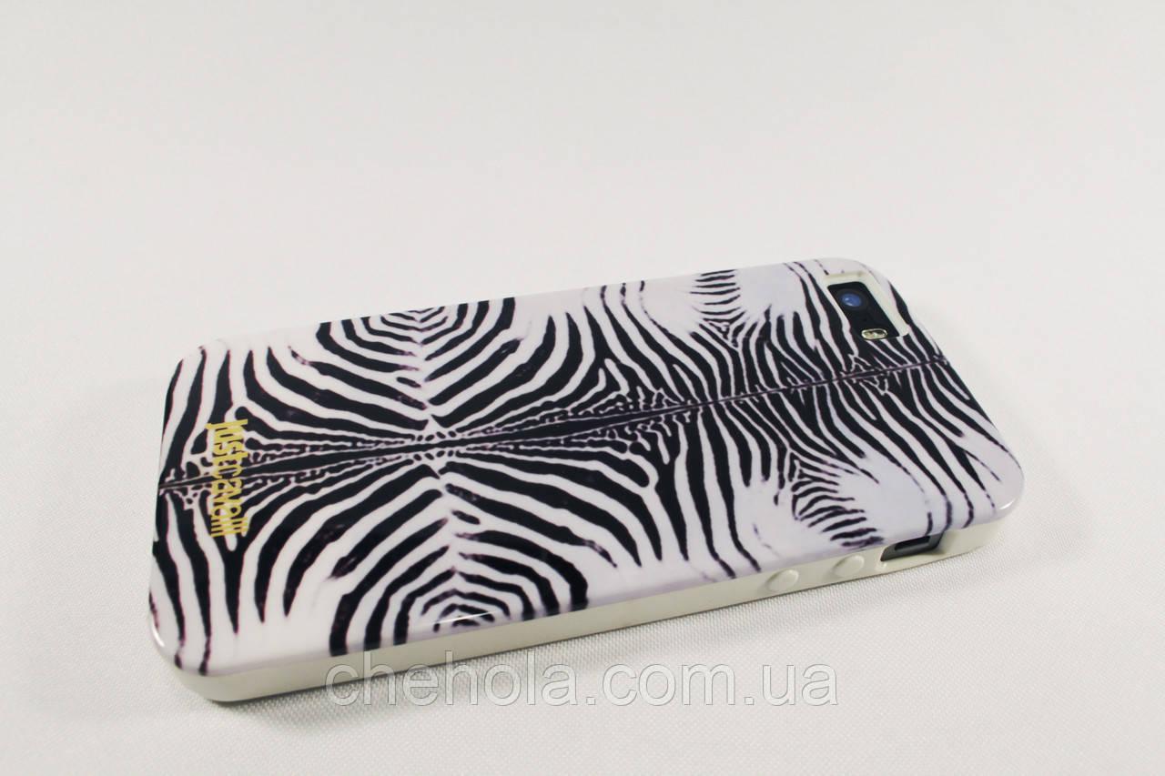 Противоударный силиконовый Чехол для iPhone 5 5S SE Just Cavalli Зебра