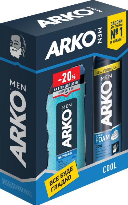 Подарочный набор ARKO Cool (Пена для бритья + Гель для душа)