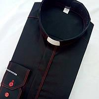 Черная рубашка с красной оздоблюющей строчкой с длинным рукавом