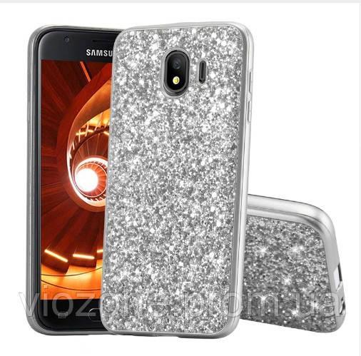 Чехол/Бампер блеск с кристаллами для Samsung J4 2018 (J400) Серебро (Силиконовый)