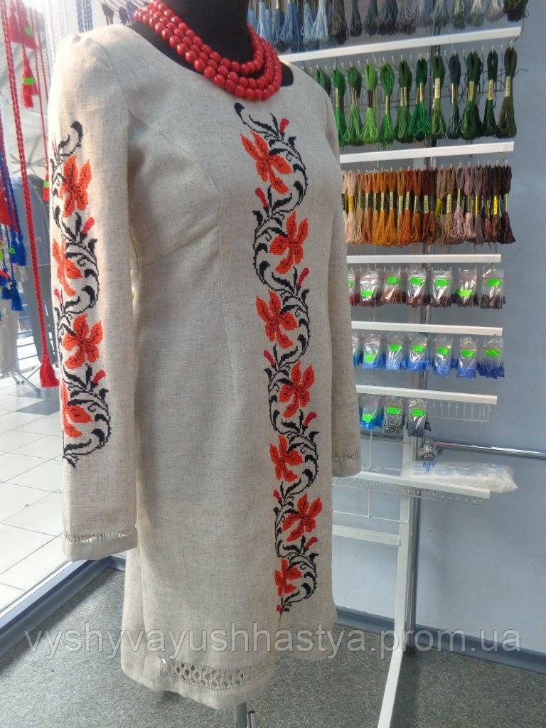 """Стильное вышитое платье ручной работы  """"Лілея"""". В стиле """"Этно"""". Многорядная мережка."""