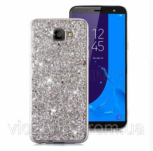 Чехол/Бампер блеск с кристаллами для Samsung J4 Plus 2018 (J415) Серебро (Силиконовый)
