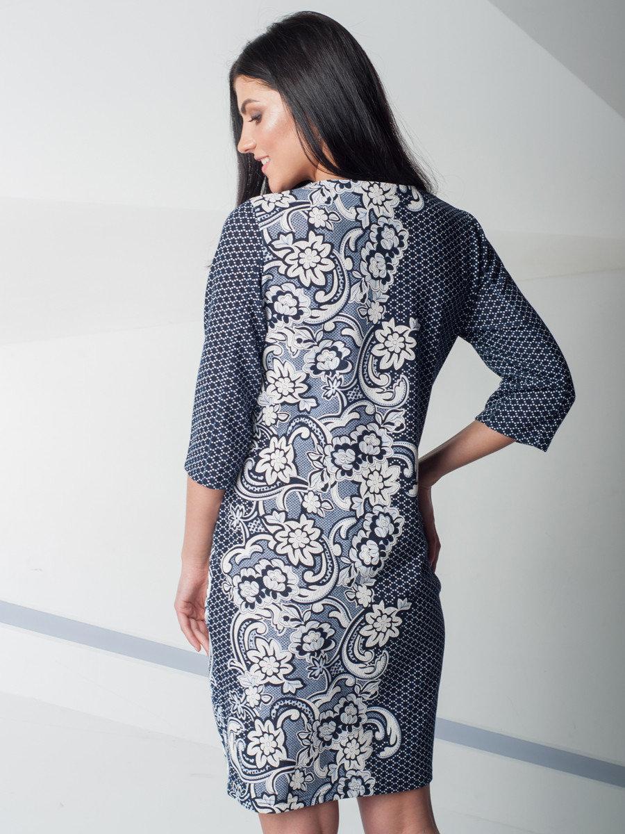 c2ae86320b4e4 ... Модное трикотажное платье увеличенных размеров, с цветочным  принтом.Разные цвета., фото 3