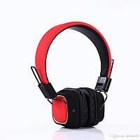 Беспроводные накладные складные блютуз наушники-гарнитура с микрофоном BT019 Bluetooth Красно-Черный