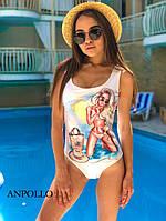 Купальник женский слитный красивый с ярким модным принтом Kkan199
