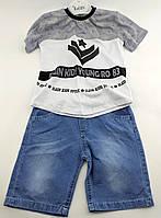 Детские костюмы 1, 2, 3 года Турция летний с шортами для мальчиков серый (КД25)