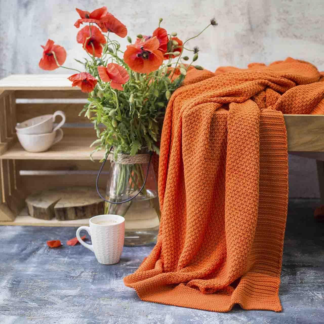 Плед вязаный Vividzone СКАЙЛ 150х200 оранжевый