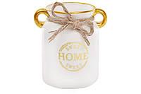 """Ваза керамическая """"Home sweet home"""" 17см, цвет - белый с золотом BonaDi 733-182"""
