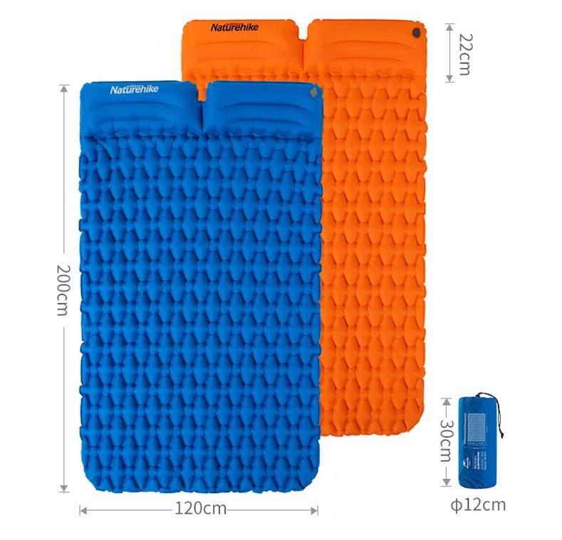 Двухместный надувной коврик-матрас Naturehike FC (большой) туристический коврик с подушкой. Туристичний матрац
