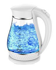 Электрочайник стеклянный Adler AD 1274 white 1,7 литр