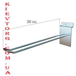 Крючок двойной для экономпанели (экспопанели) в торговый магазин хромированный, d= 5 мм, 20 см