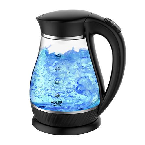 Электрочайник стеклянный Adler AD 1274 black 1,7 литр