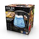 Электрочайник стеклянный Adler AD 1274 black 1,7 литр, фото 7
