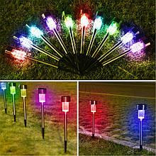 Садовый светильник цветной на солнечной батарее 10 шт