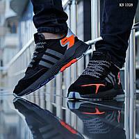 Мужские кроссовки в стиле Adidas Nite Jogger, замша, сетка, пена, черные с помаранчевым 41 (26 см)