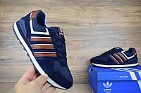 Мужские кроссовки в стиле Adidas NEO синие с коричневым замша+сетка 41 (25,5 см)