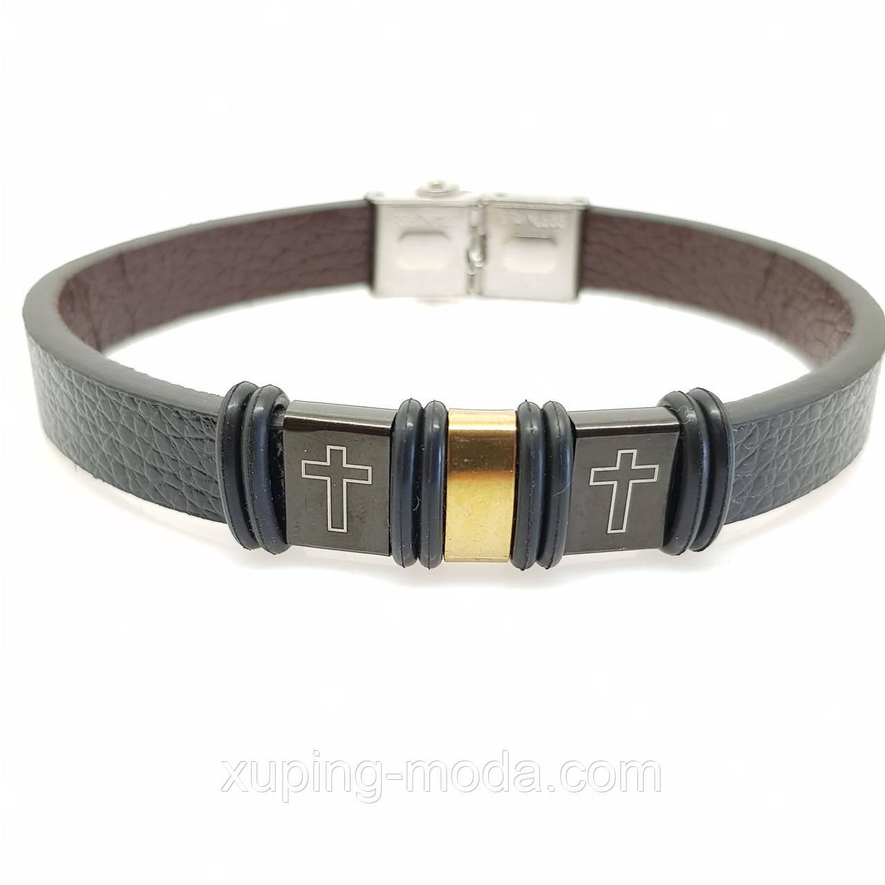 Христианский мужской кожаный браслет