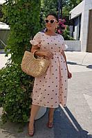 Комфортное платье с модным принтом батал