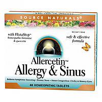 Растительный Комплекс от Аллергии, Allercetin, Source Naturals, 48 таблеток для рассасывания