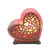 Соляной светильник Сердце большое с узором сердца