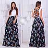 Ошатне жіноча літнє плаття з квітковим принтом і шнурівкою на спині . Арт - 2627/23