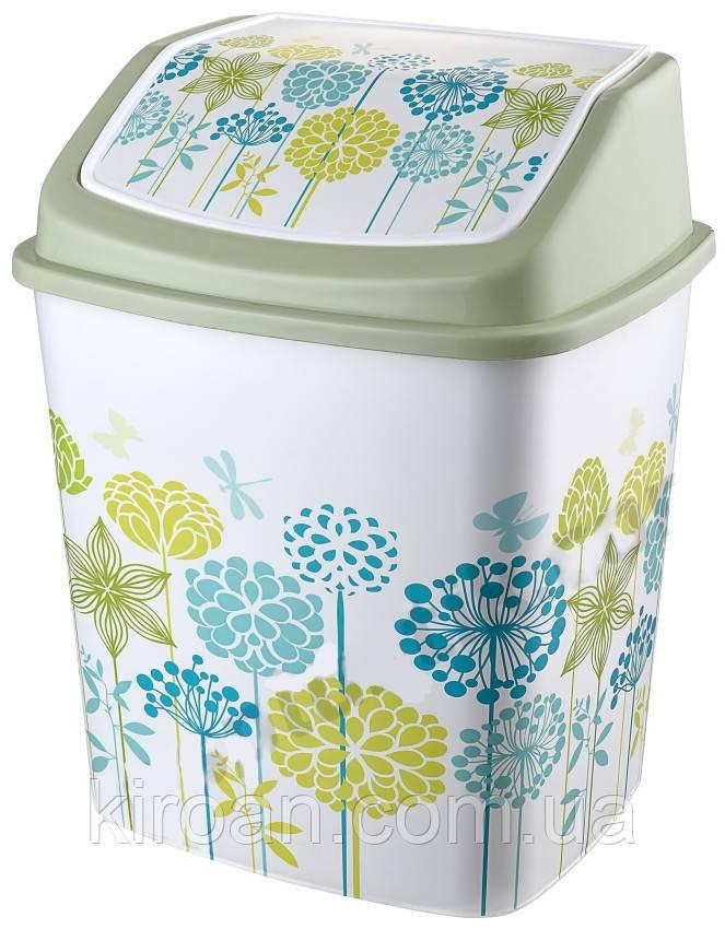 Ведро для мусора с крышкой Elif Plastik 5,5 л (цвет салатовый) Одуванчики