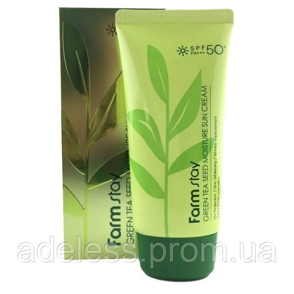 Увлажняющий солнцезащитный крем с семенами зеленого чая Farm Stay Green Tea Seed Sun Cream SPF50+ PA+++, 70мл