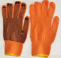 Перчатки х/б с нанесением ПВХ-точки (оранжевые/синие)