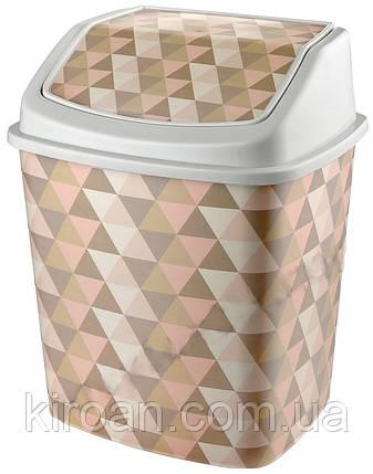 Ведро для мусора с крышкой Elif Plastik 5,5 л (Геометрия), фото 2