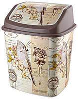 Ведро для мусора с крышкой Elif Plastik 5,5 л (Птицы)