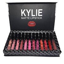 Набор стойких жидких матовых помад разных оттенков для макияжа губ Kylie Black 12 штук | Кайли (Реплика), фото 2