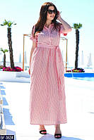 Женское легкое длинное прогулочное летнее макси платье с карманами,рукав 3/4+пояс (лен) 3 цвета (батал)