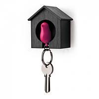 Ключница настенная и брелок для ключей Sparrow Qualy (черный-розовый), фото 1