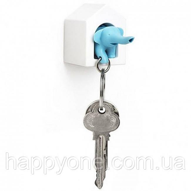 Ключница настенная и брелок для ключей Elephant Qualy (белый-голубой)