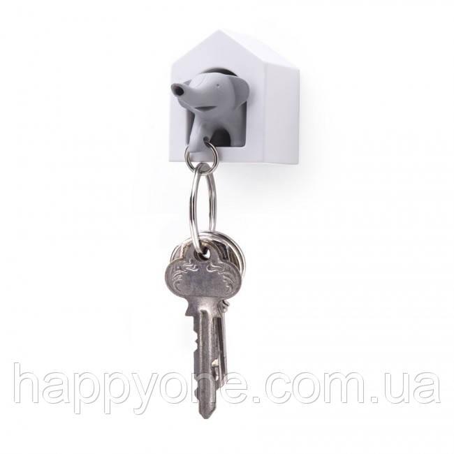 Ключница настенная и брелок для ключей Elephant Qualy (белый-серый)