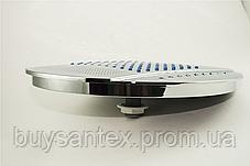Лейка круглая, потолочная, хромированная, диаметром 250 мм. c подсветкой ( L-250 ДК) в душевую кабину, фото 2
