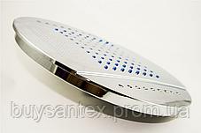 Лейка кругла, стельова, хромована, діаметром 250 мм. c підсвічуванням (L-250 ДК) в душову кабіну, фото 3